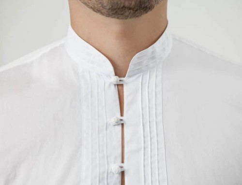 Oriental inspired bespoke shirt with a pin-tucking stitch