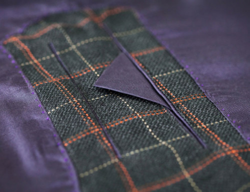Inside pocket of a bespoke silk suit