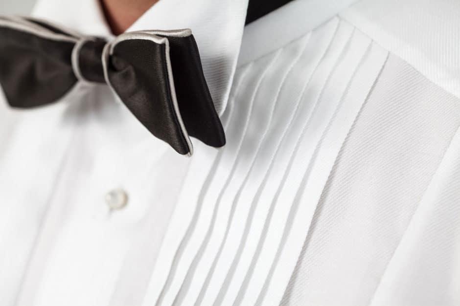 Plissé application of a bespoke bow-tie shirt