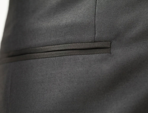 Welted (piped) pocket of a bespoke dinner jacket