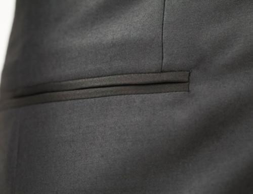 Welted (piped) pocket of a bespoke dinner jacket