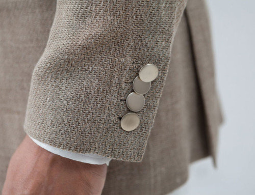 Sleeve buttons on an unlined linen jacket