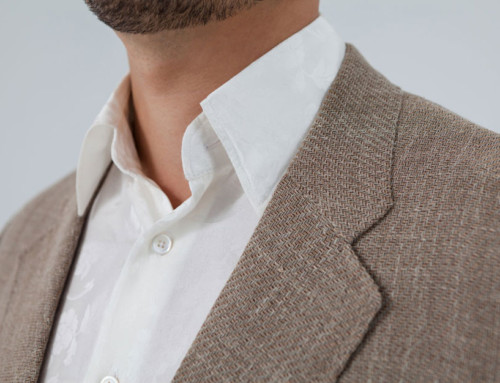 Unlined linen jacket combined with a silk shirt