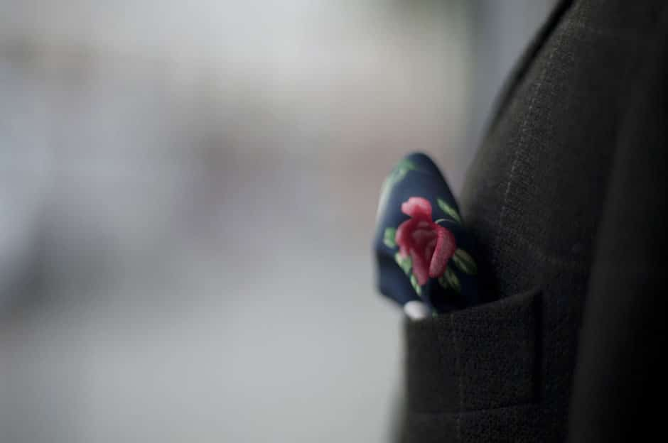 Pocket square in a breast pocket of a bespoke suit of Egon Brandstetter Bespoke Tailor Berlin