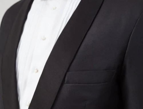 Silk facing lapel of a bespoke dinner jacket
