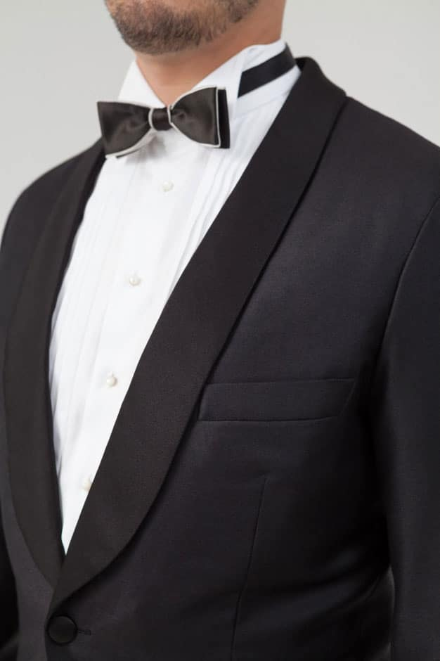 Silk facing lapel of a bespoke dinner jacket